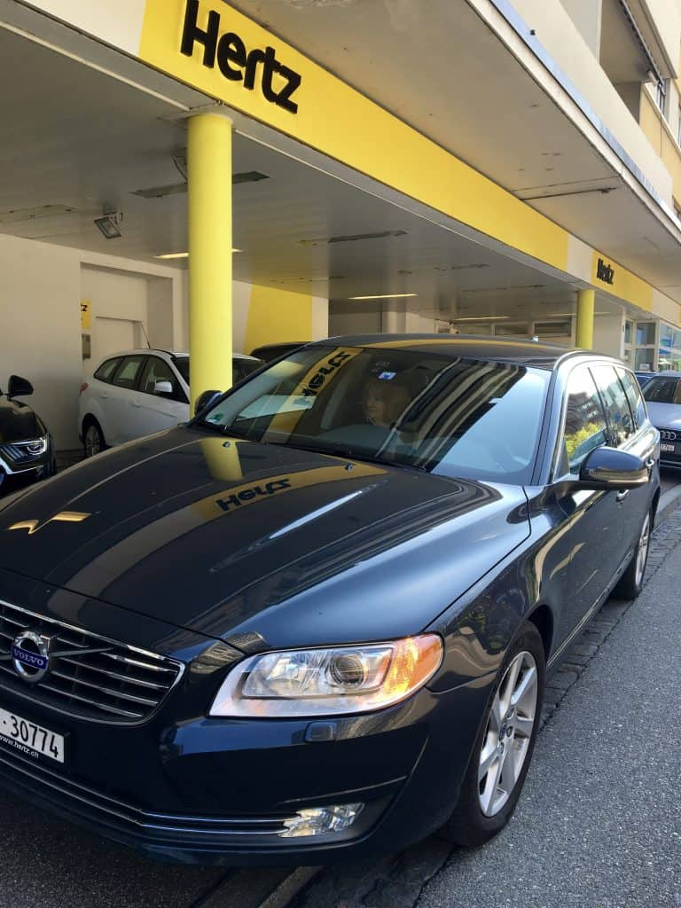Picking up a Volvo at the Hertz office in Basel, Switzerland.