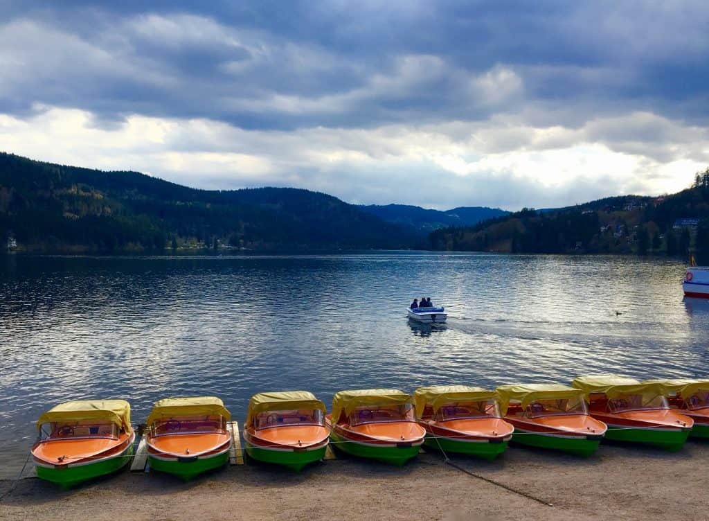boats and view of Lake Titisee in Germany