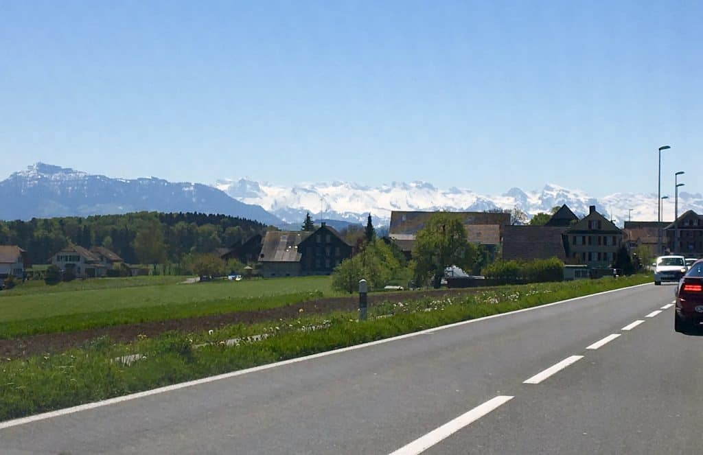 Alps in the distance, driving to Italy.