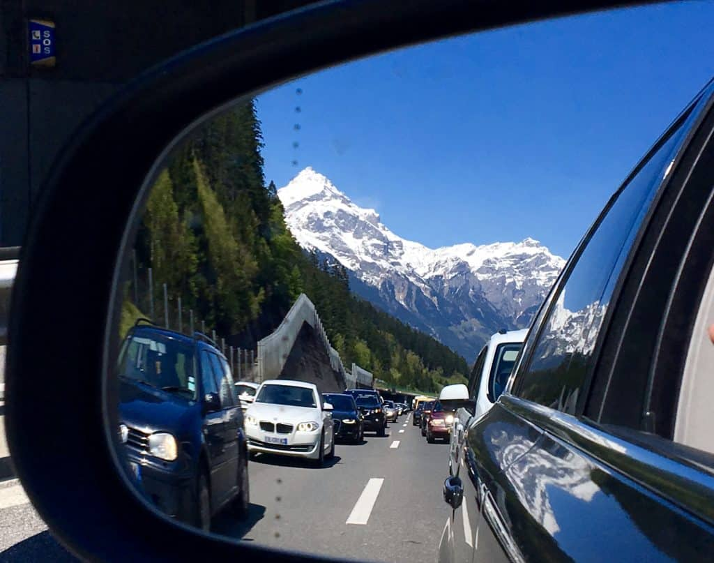 Swiss Alps in my rearview mirror.