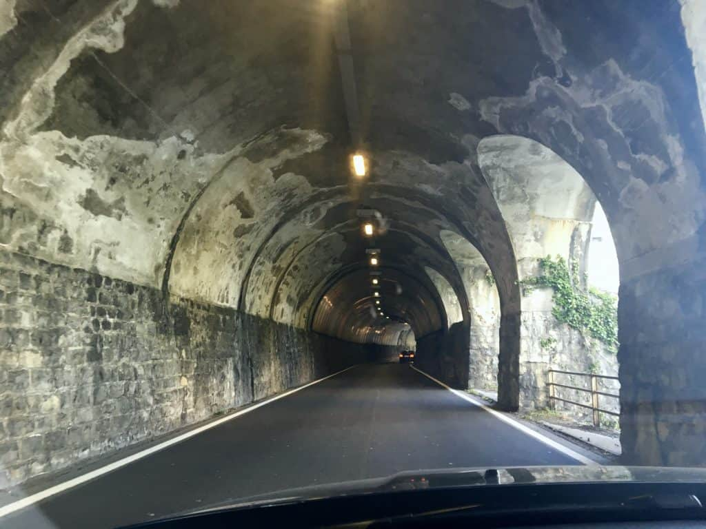 Tunnel in Switzerland driving to Italy