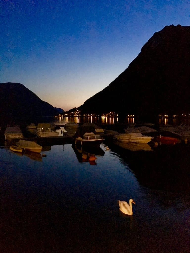 Porlezza on Lake Lugano at night.
