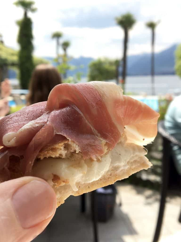 Burrata and Prosciutto Focaccia at The Grand Hotel Villa Serbelloni