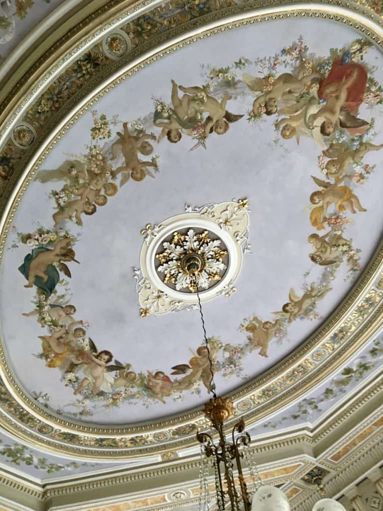 Ceiling in the breakfast room at the Grand Hotel Villa Serbelloni