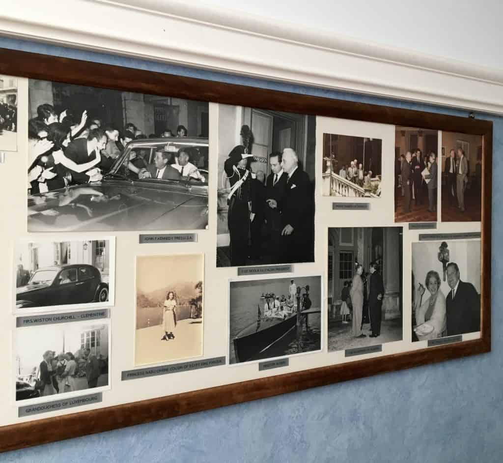 Photos of famous guests at the Grand Hotel Villa Serbelloni