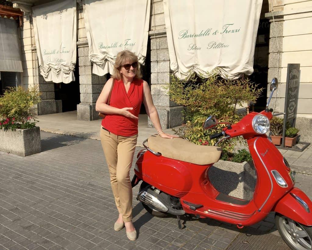 Christina matching a Vespa in Bellagio!