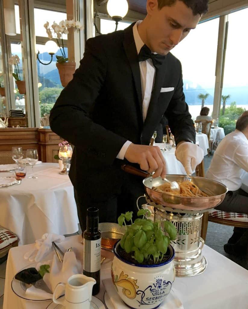 Daniele making my spaghetti at the Grand Hotel Villa Serbelloni
