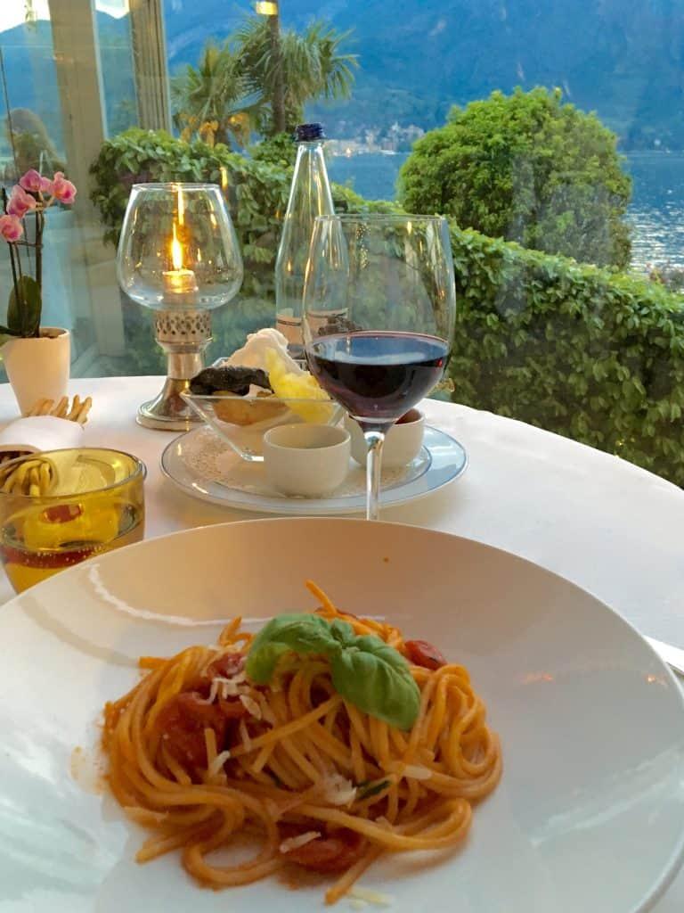 Pasta and wine at the Grand Hotel Villa Serbelloni
