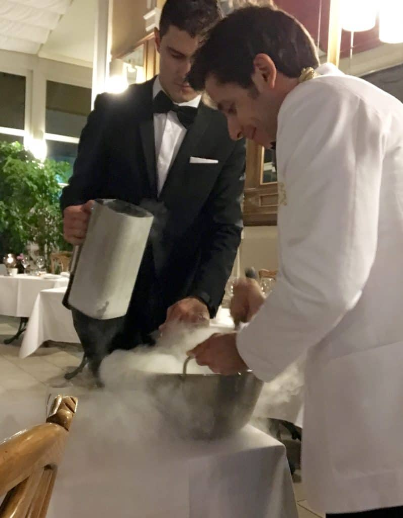 Using liquid nitrogen to make ice cream.