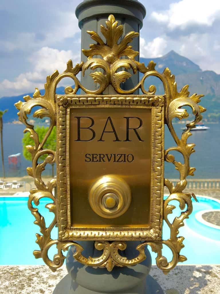 Bar service bell at Grand Hotel Villa Serbelloni