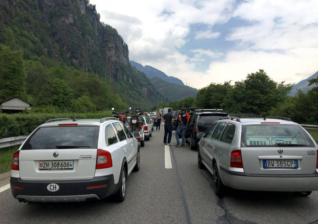 Traffic jam waiting to enter the Gotthard Tunnel