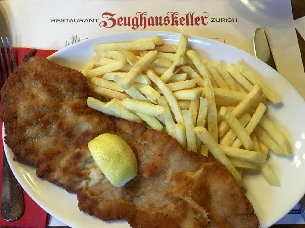 Weinerschnitzel with fries