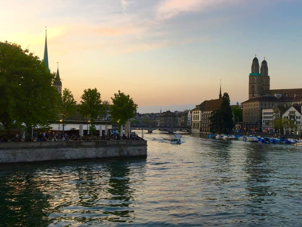 Zurich scene at sunset.