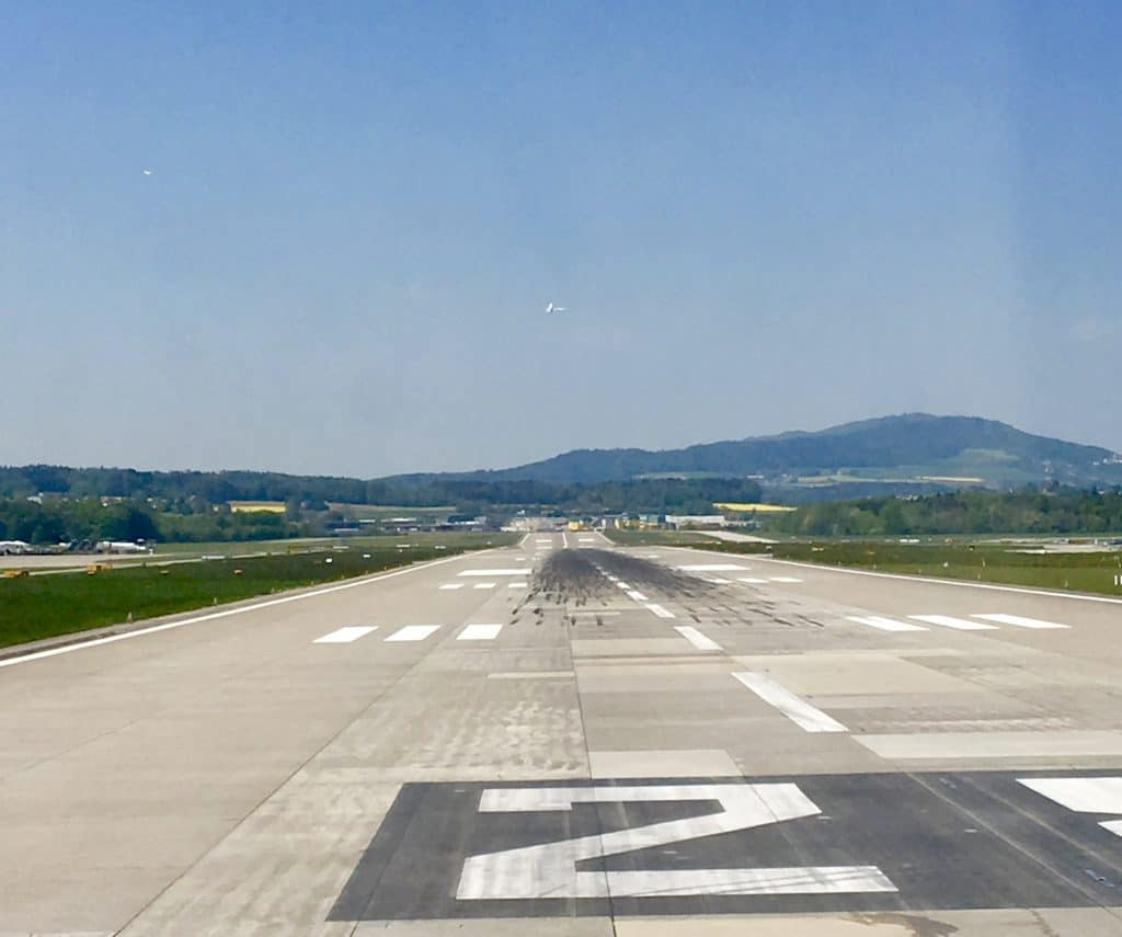 Runway at the Zurich airport