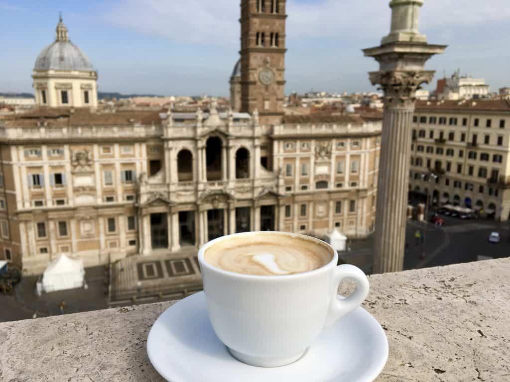 Cappuccino in front of Basilica of Santa Maria Maggiore in Rome
