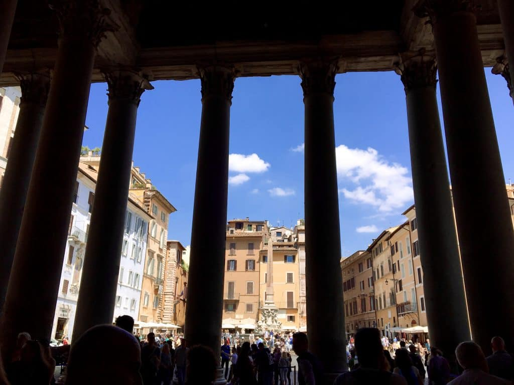 Looking out of the Pantheon.
