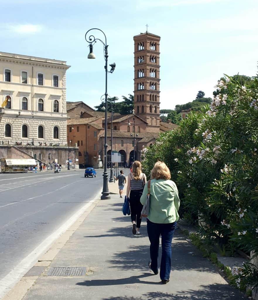 Walking to La Bocca della Verita in Rome