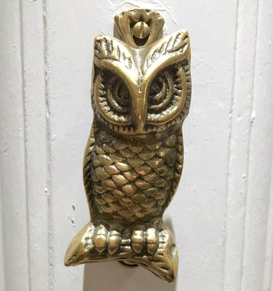 Owl door knocker on the JK Rowling Suite in the Balmoral Hotel in Edinburgh