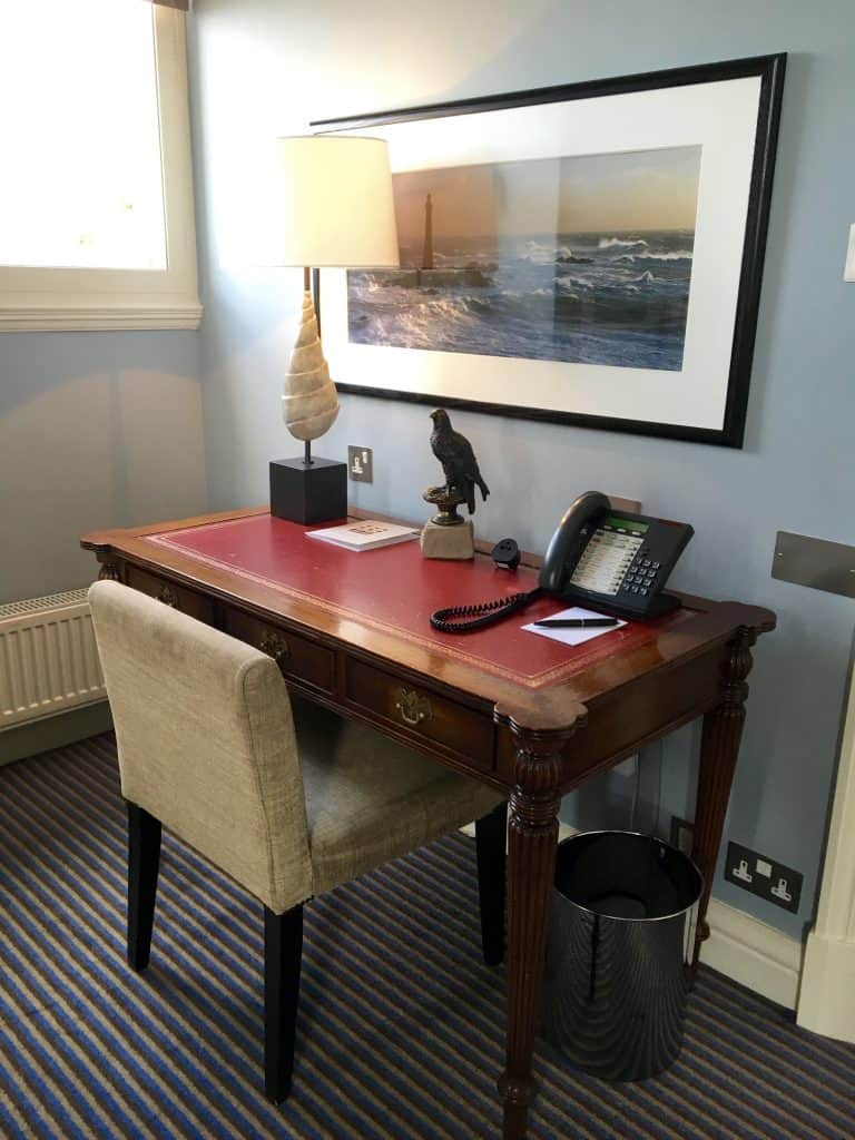 The desk where JK Rowling wrote the final Harry Potter book, Harry Potter and the Deathly Hallows in the Balmoral Hotel, Edinburgh.