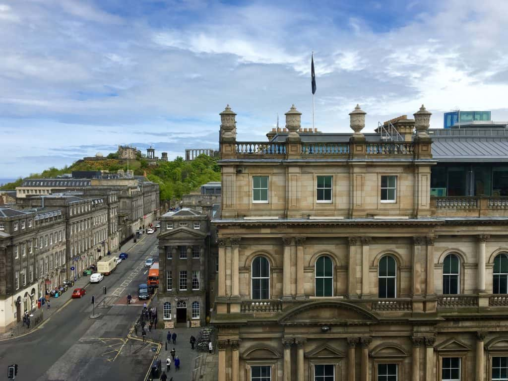 Calton Hill view along Princes Street from the Balmoral Hotel in Edinburgh.
