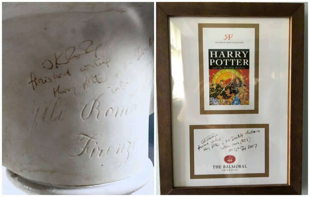 JK Rowling's graffiti on a bust in the Balmoral Hotel, Edinburgh.
