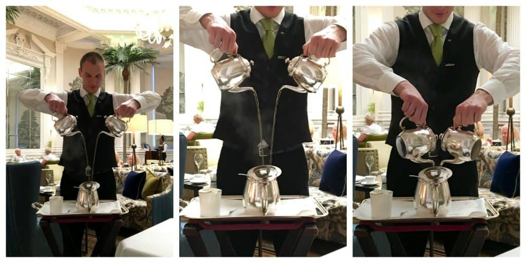 Making tea at the Balmoral Hotel in Edinburgh