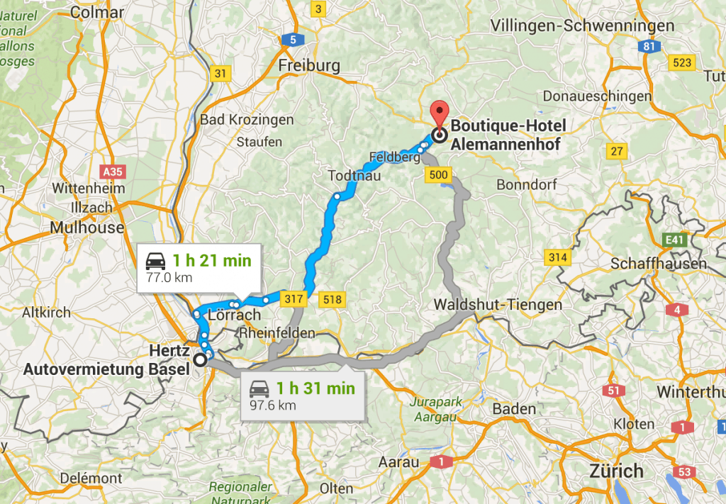 Map of Basel to Lake Titisee.