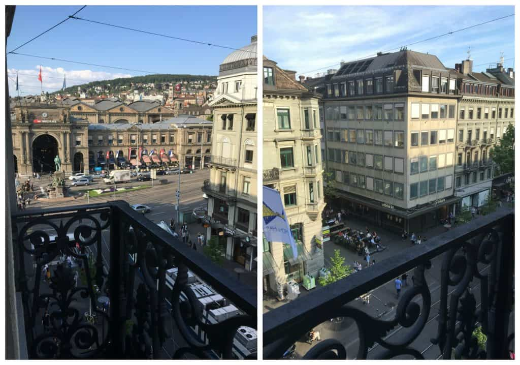 Balcony view from Hotel Schweizerhof in Zurich