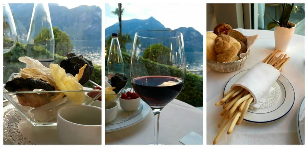 Wine and bread at the Grand Hotel Villa Serbelloni