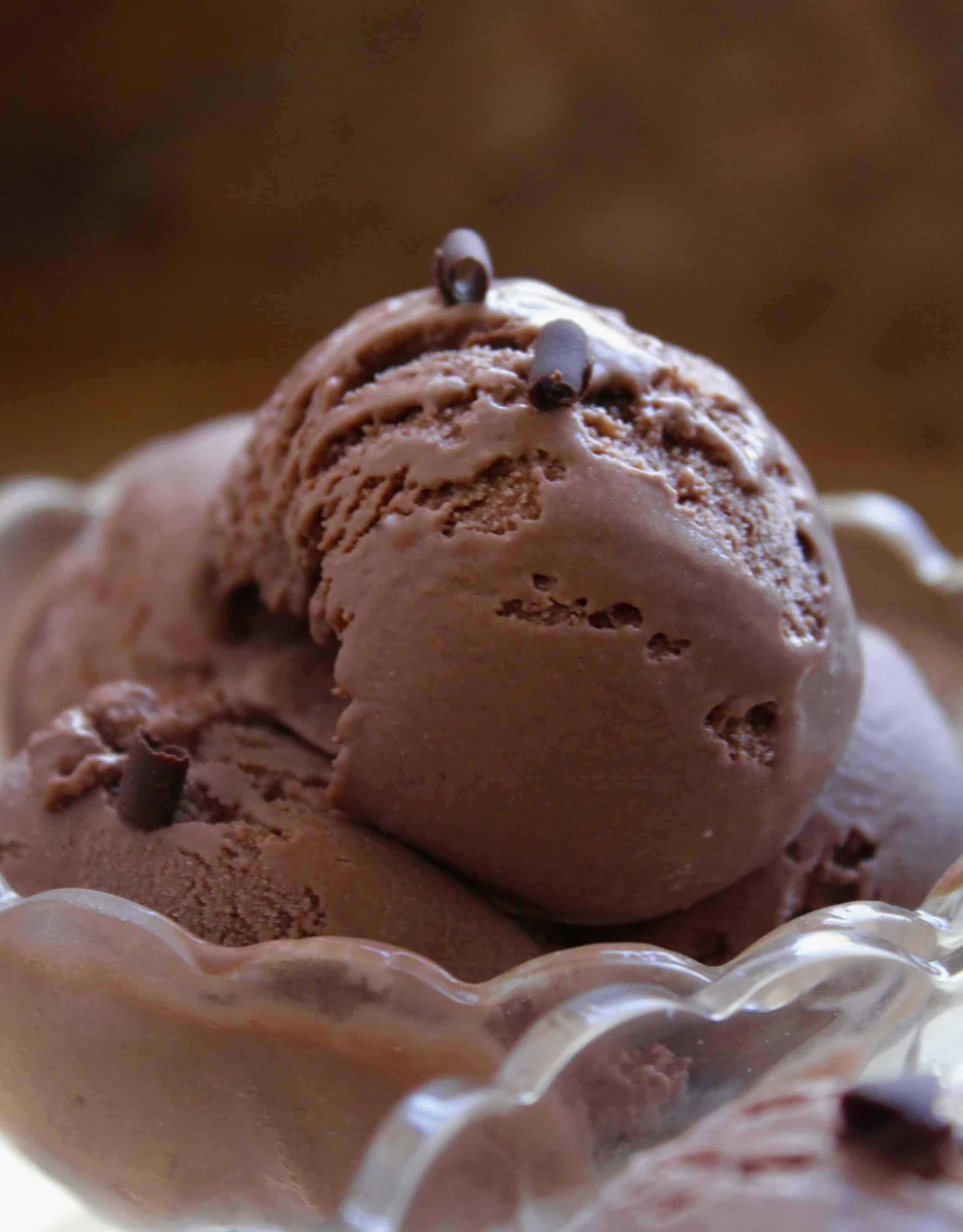 chocolate custard ice cream scoops in a crystal bowl