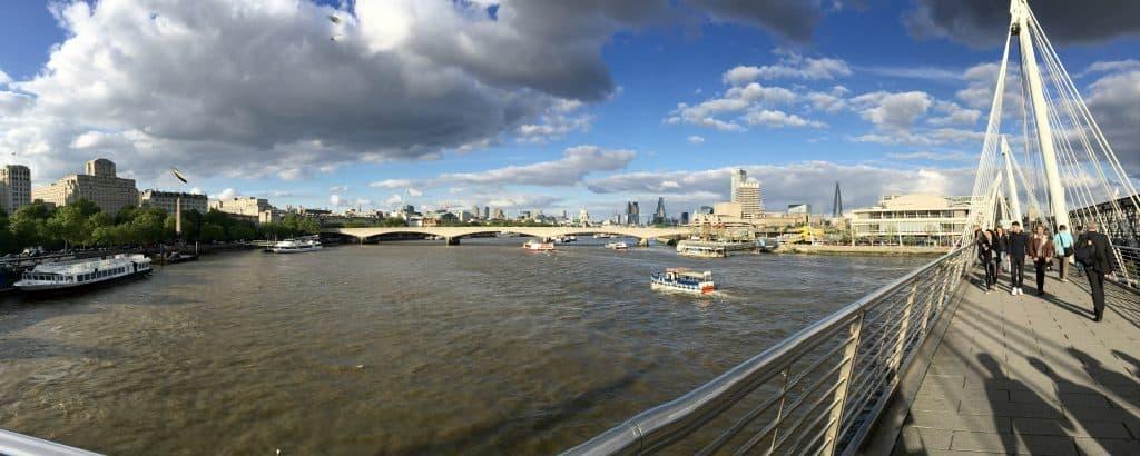 Walking of the Jubilee pedestrian bridge in London