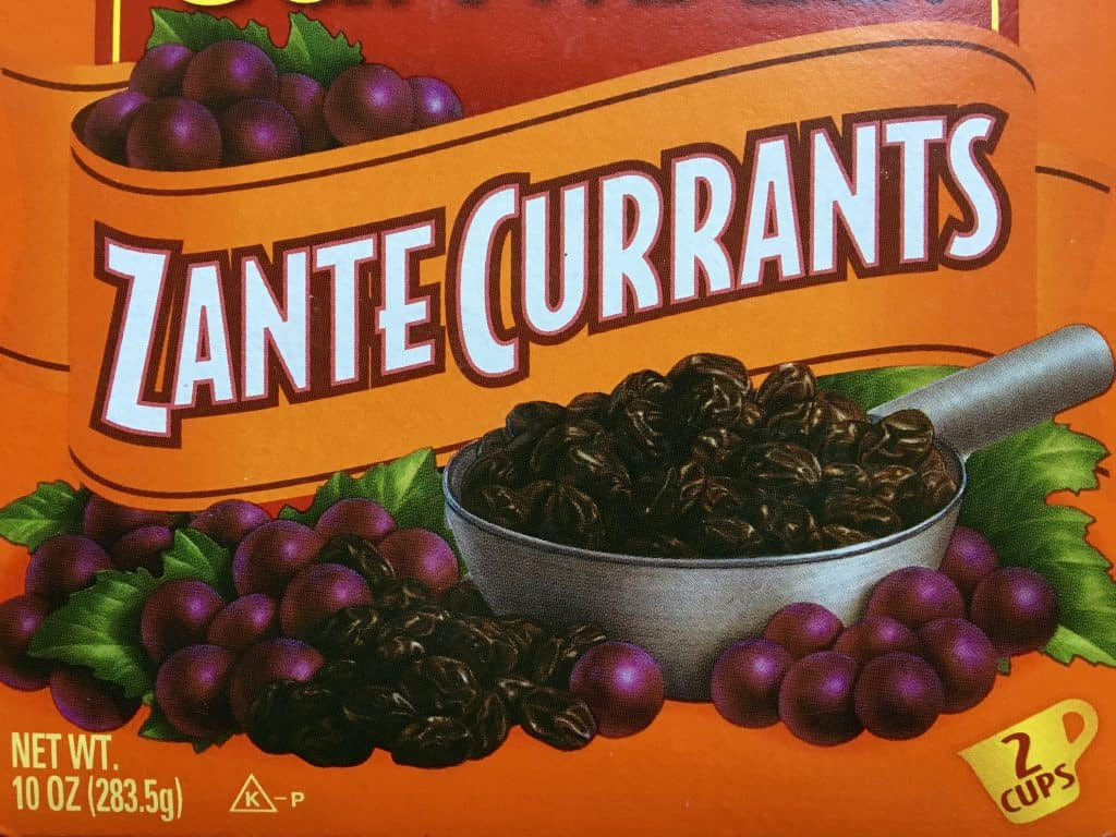 Box of Zante currants, NOT blackcurrants!