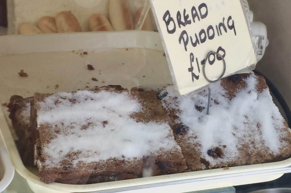 Bread Pudding in a bakery window in East Sussex