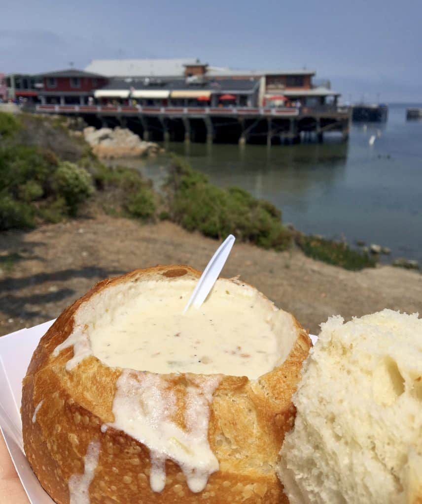 Clam chowder in a sourdough bread bowl in Monterey