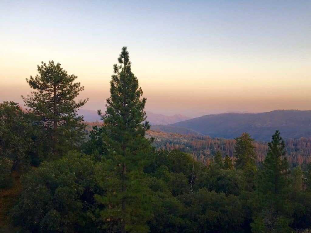 Sunset over the Sierra National Forest