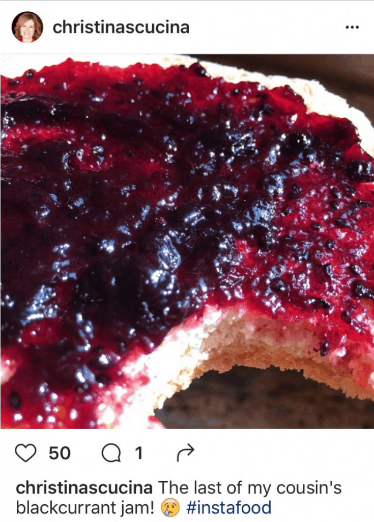 My farewell to my cousin's blackcurrant jam on Instagram