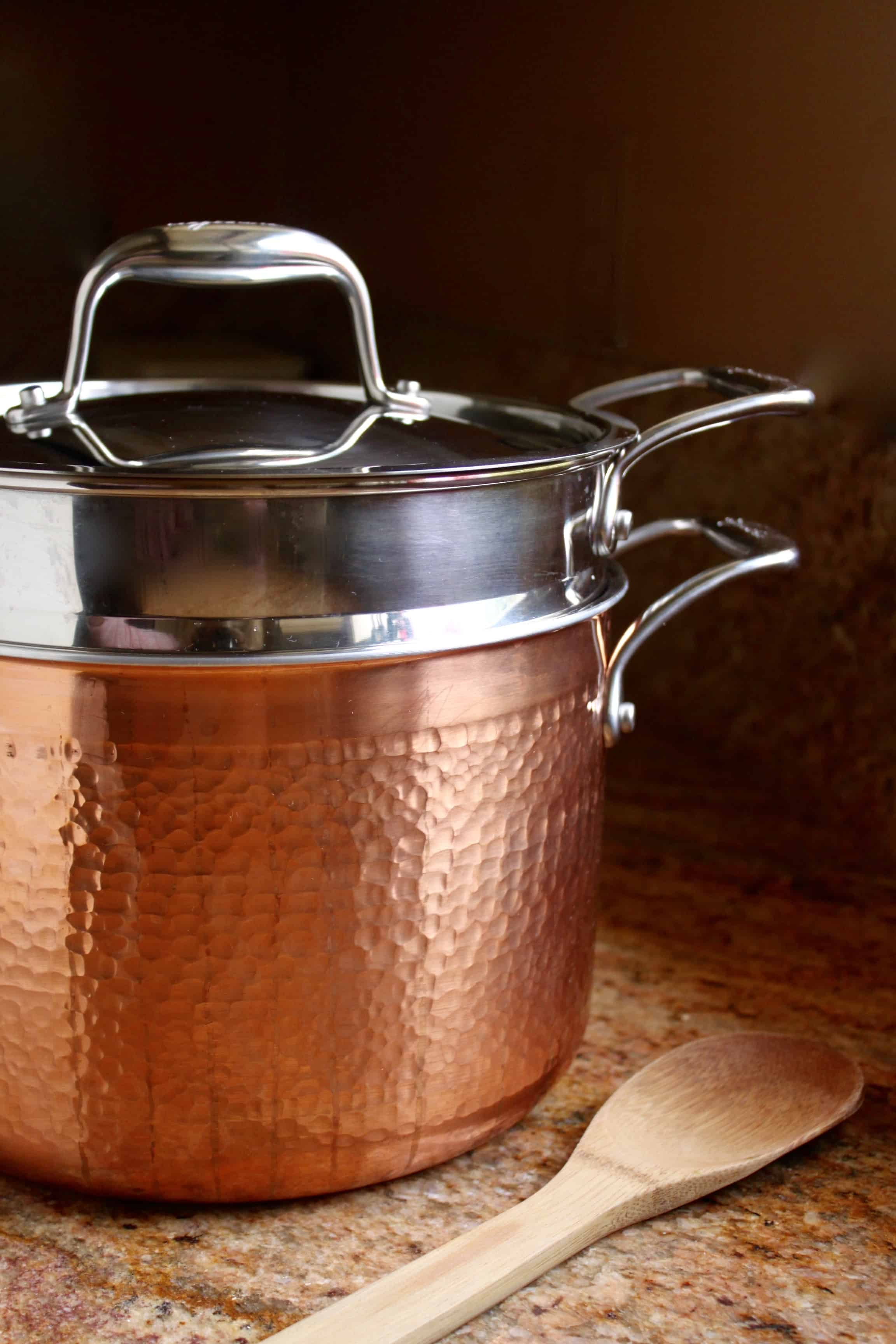 Lagostina review: Copper Pastaiola Pot with a wooden spoon