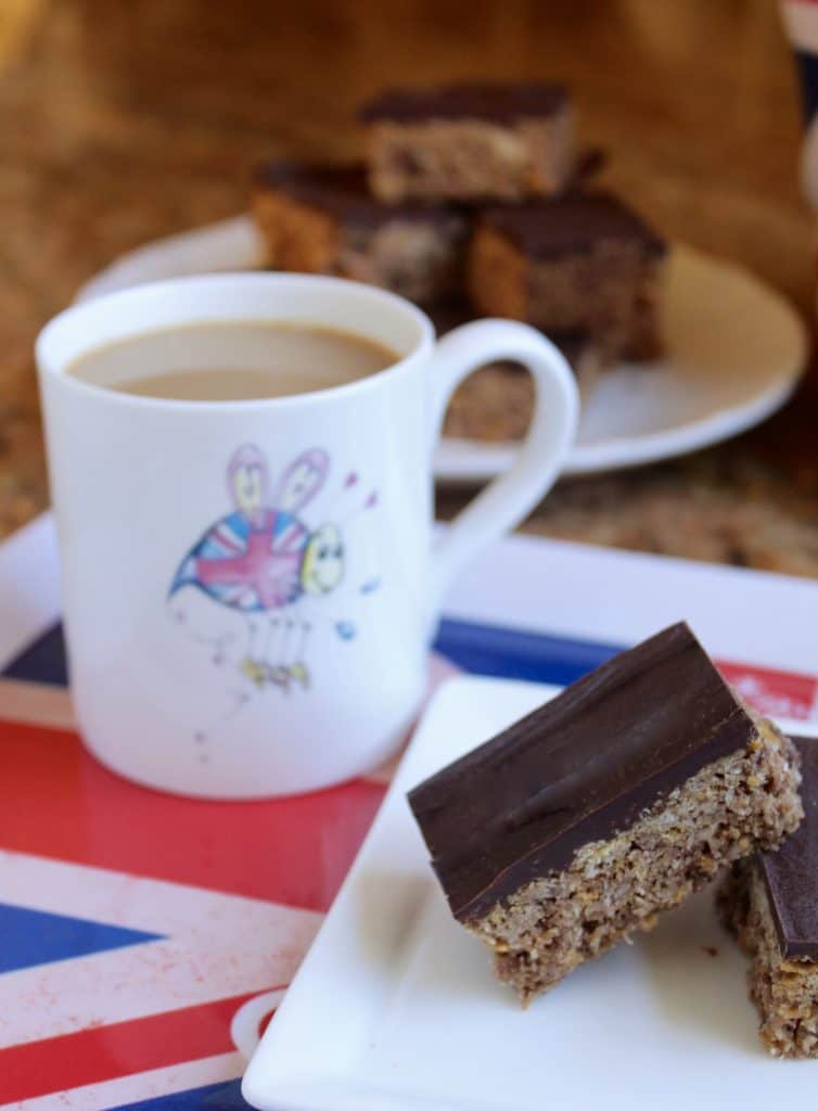 Australian Crunch bars with a cup of tea