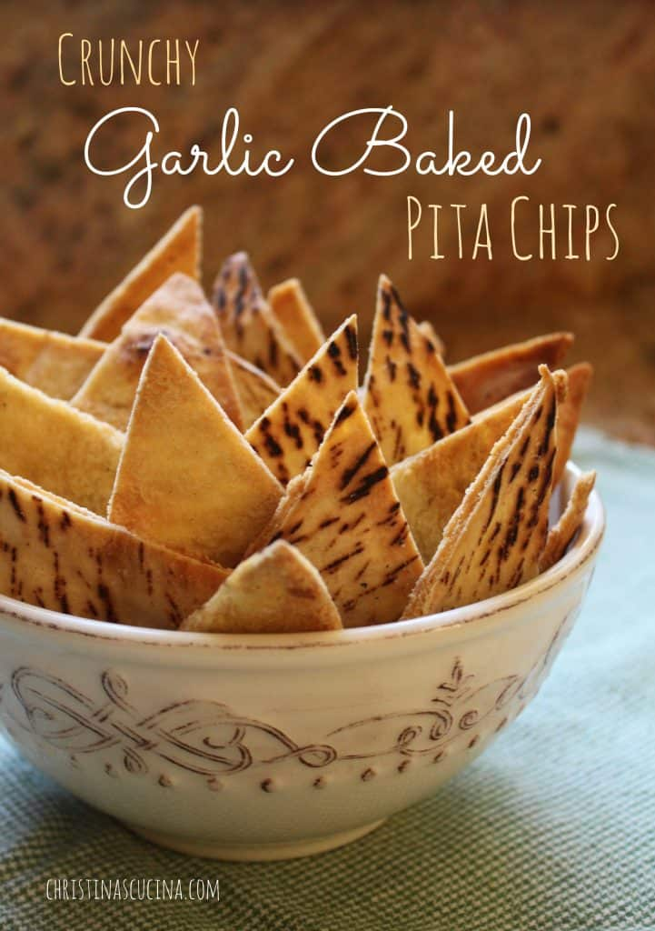 Crunchy Garlic Baked Pita Chips from Christina's Cucina