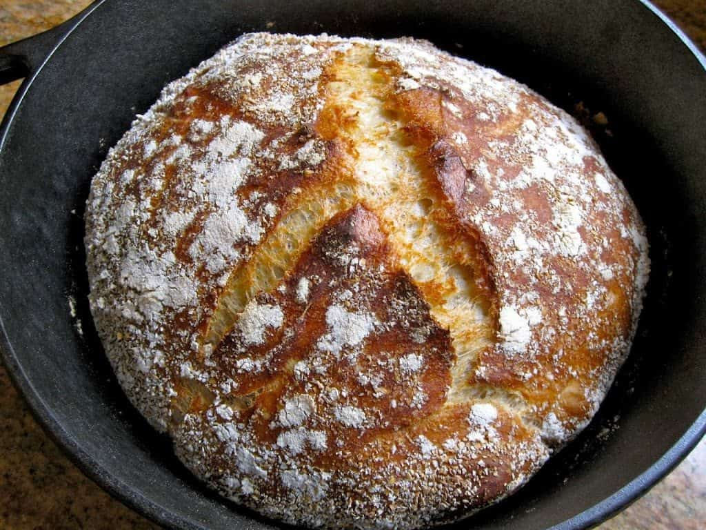 No Knead bread in Lodge Logic pot