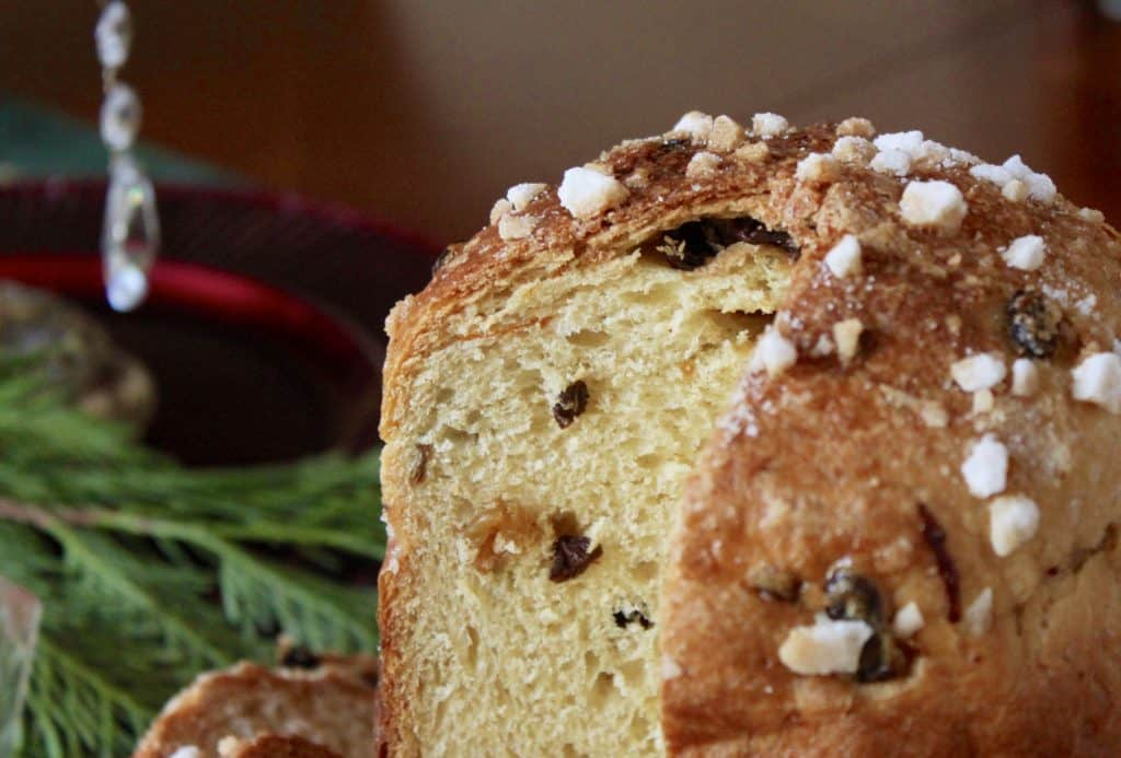 Homemade panettone made in the bread machine but baked in the oven.