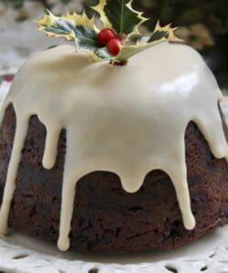 Christmas pudding with brandy sauce.
