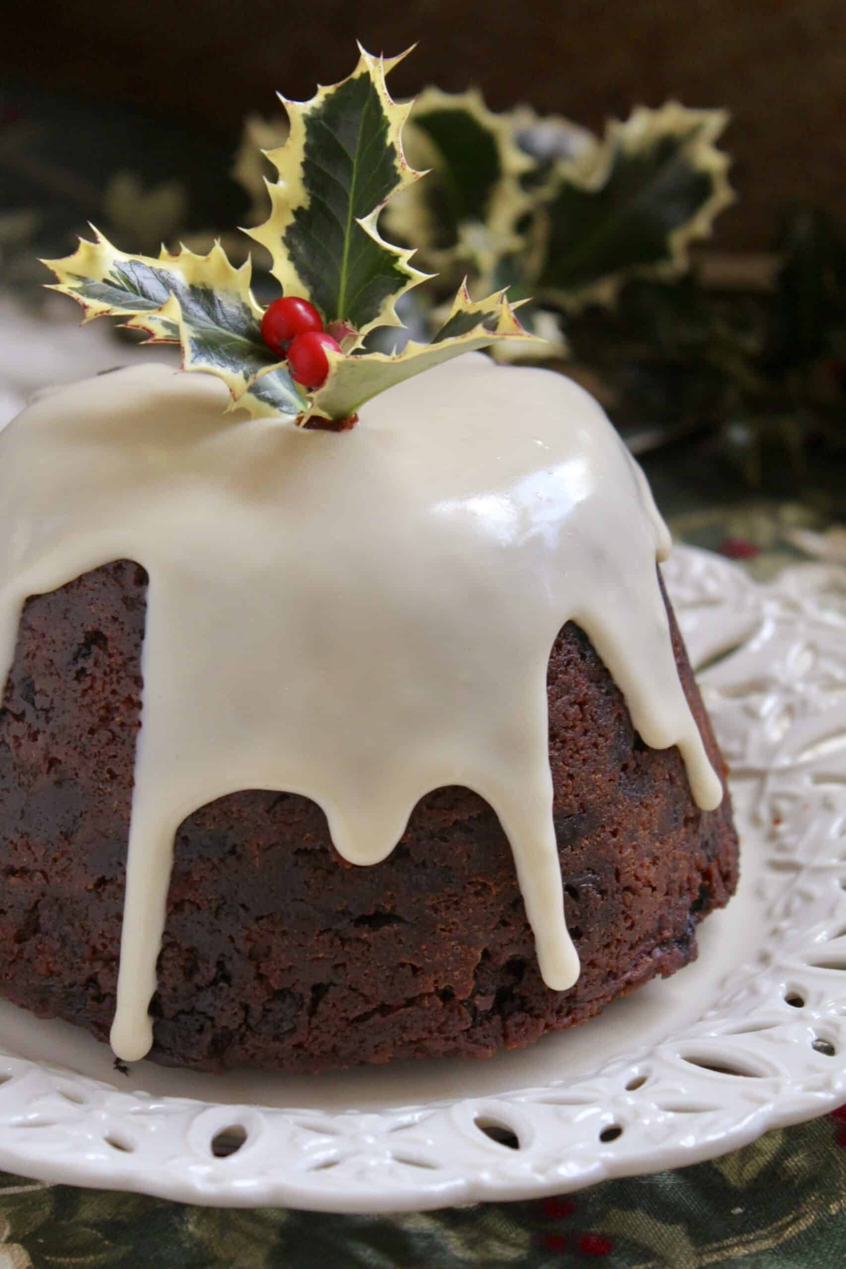 Christmas pudding with brandy sauce.