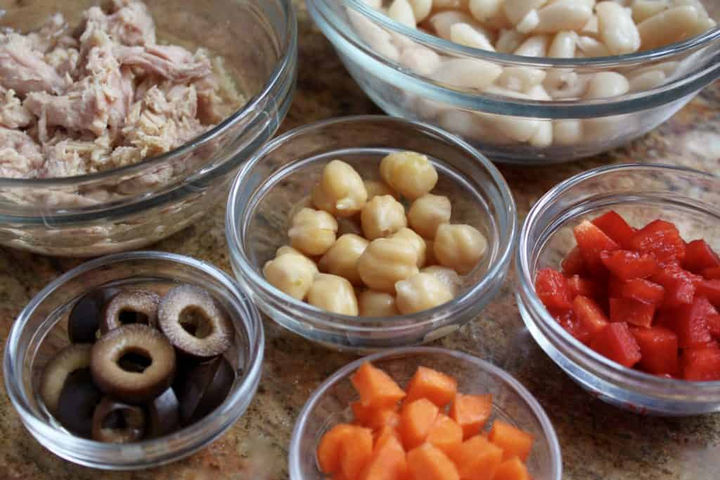 Tuna and Cannellini bean salad ingredients