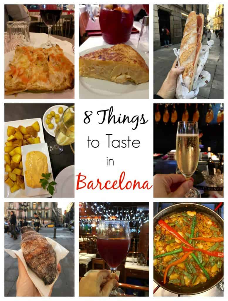 8 Things to Taste in Barcelona collage including patatas bravas