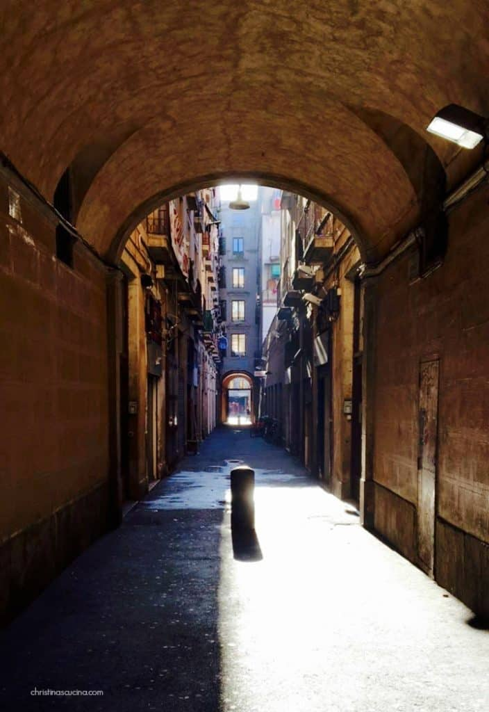 Arch in a street in Barcelona