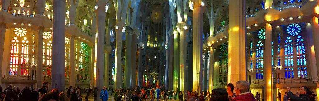 Interior panorama of La Sagrada Familia