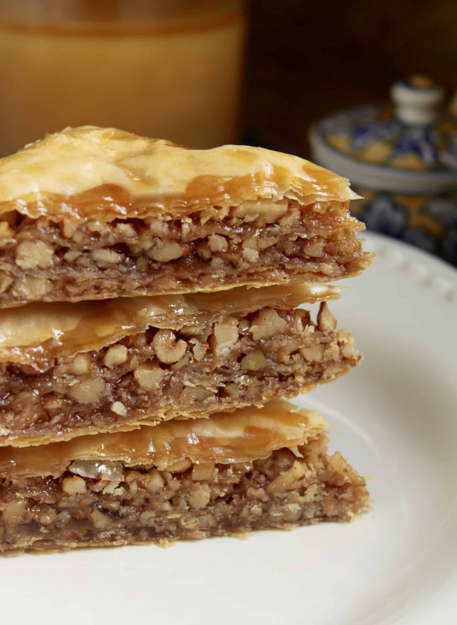 3 pieces of Honey Walnut Baklava stacked on top of each other