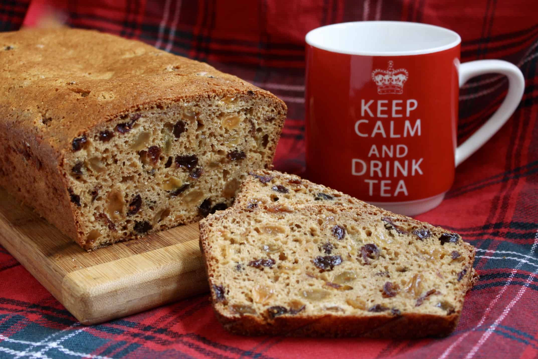 Scottish Tea Bread sliced with a mug
