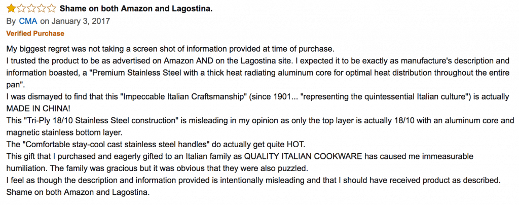 "Negative review on Lagostina's ""Italian"" cookware which is made in China for letter to lagostina"